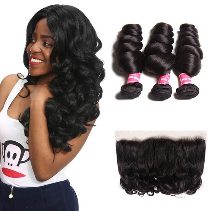 Kriyya  Loose Wave 3 Bundles Natural Hair Weave With 13*4 Lace Frontal Indian Human Hair