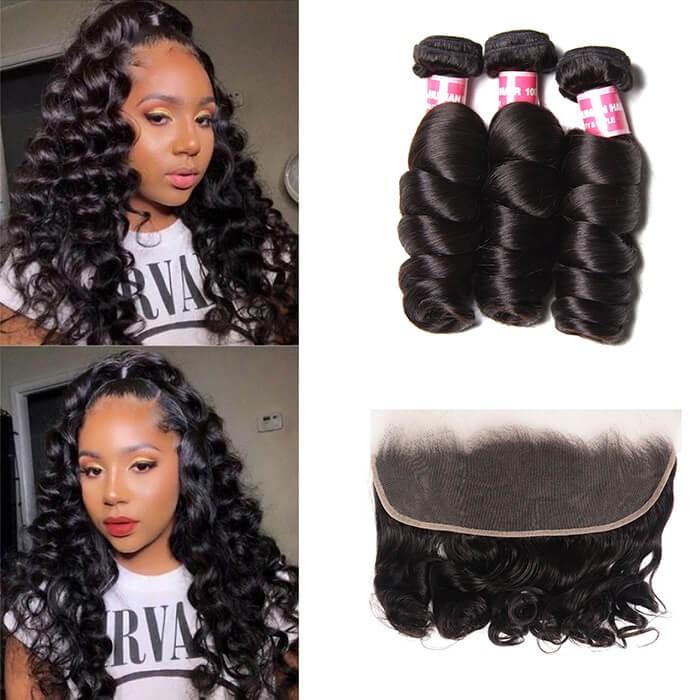 Kriyya Loose Wave 100 Human Hair 3 Bundles With 13*4 Lace Frontal Malaysian Hair