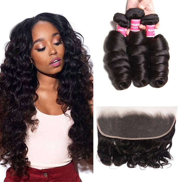 Kriyya 3 Bundles Loose Wave Unprocessed Human Hair With 13*4 Inch Lace Frontal