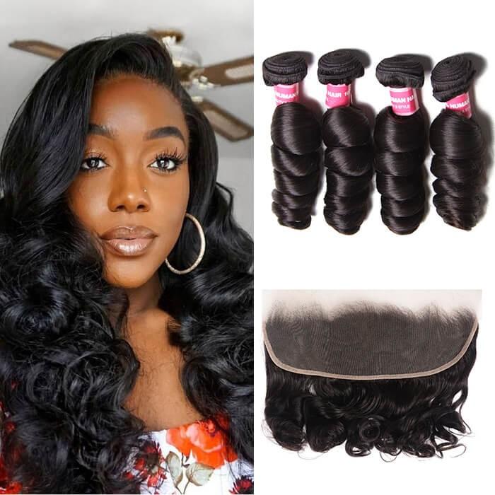Kriyya Best Peruvian Loose Wave Virgin Hair 4 Bundles With 13x4 Lace Frontal Closure