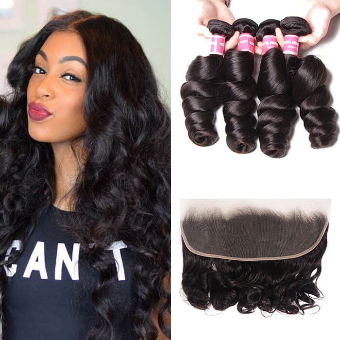Kriyya Malaysian Hair Loose Wave 4 Bundles With 13x4 Frontal Closure Sew In