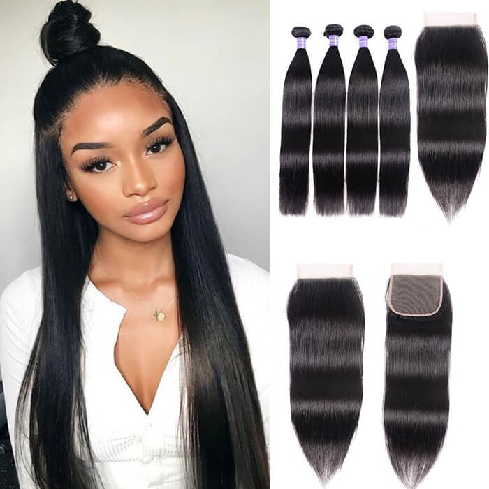Kriyya 4 Bundles Indian Straight Hair Weave With 4x4 Closure