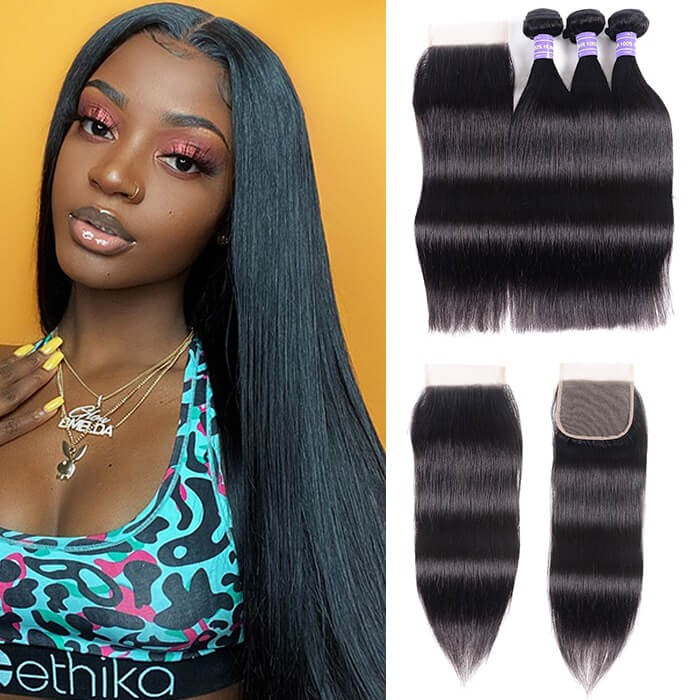 Kriyya 3 Bundles Straight With 4*4 Lace Closure Malaysian Remy Human Hair