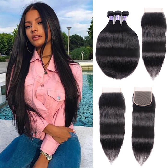 Kriyya Peruvian 3 Bundles With 4*4 Lace Closure Straight Human Hair