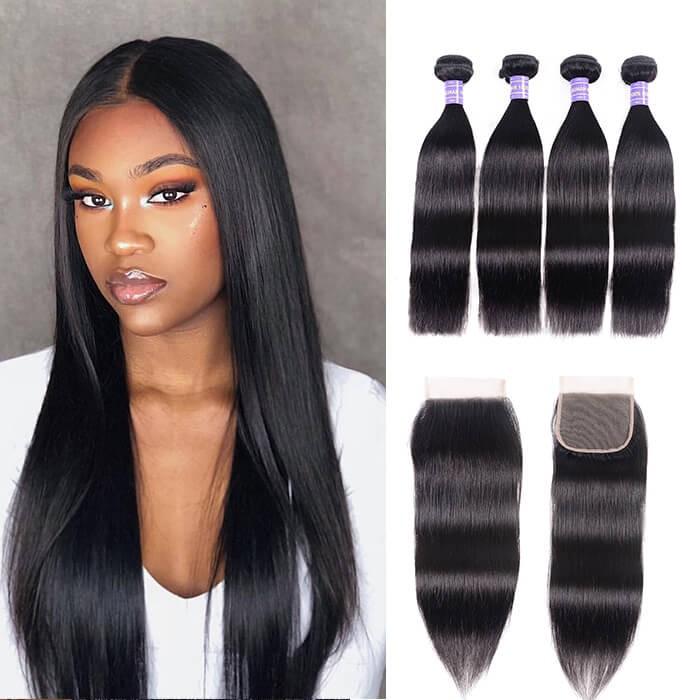 Kriyya Best Brazilian Straight Hair 4 Bundles With 4x4 Closure Virgin Hair
