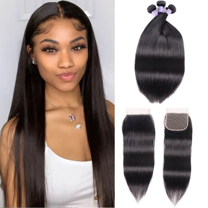 Kriyya Brazilian Virgin Hair 3pcs Straight Hair With 4*4 Lace Closure