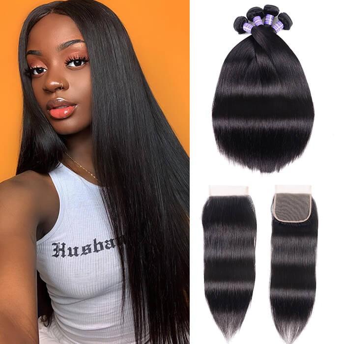 Kriyya Peruvian Straight Hair 4 Bundles Sew In With 4x4 Closure