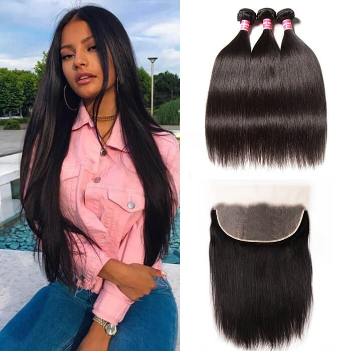 Kriyya Indian Unprocessed Virgin Hair 3 Bundles With Lace Frontal 13*6 Inch Straight Hair