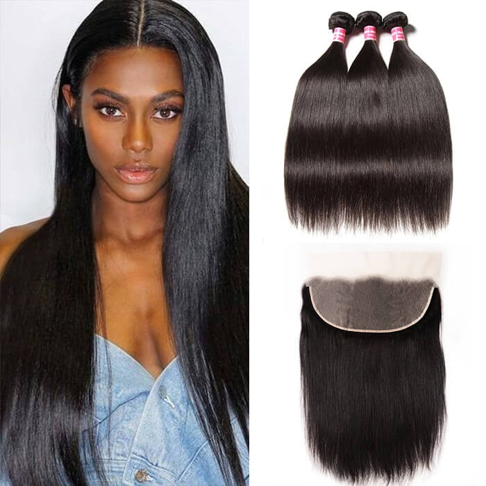 Kriyya Brazilian 100% Human Hair Straight 3 Bundles With Lace Frontal 13*6 Inch