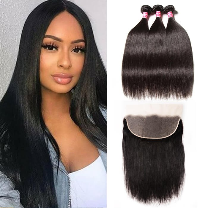 Kriyya Malaysian 100 Human Hair 3 Bundles Straight With 13*6 Lace Frontal