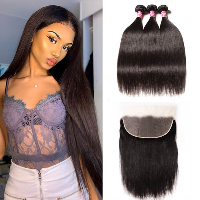 Kriyya 3 Pcs Peruvian Virgin Human Hair Straight With 13*6 Lace Frontal