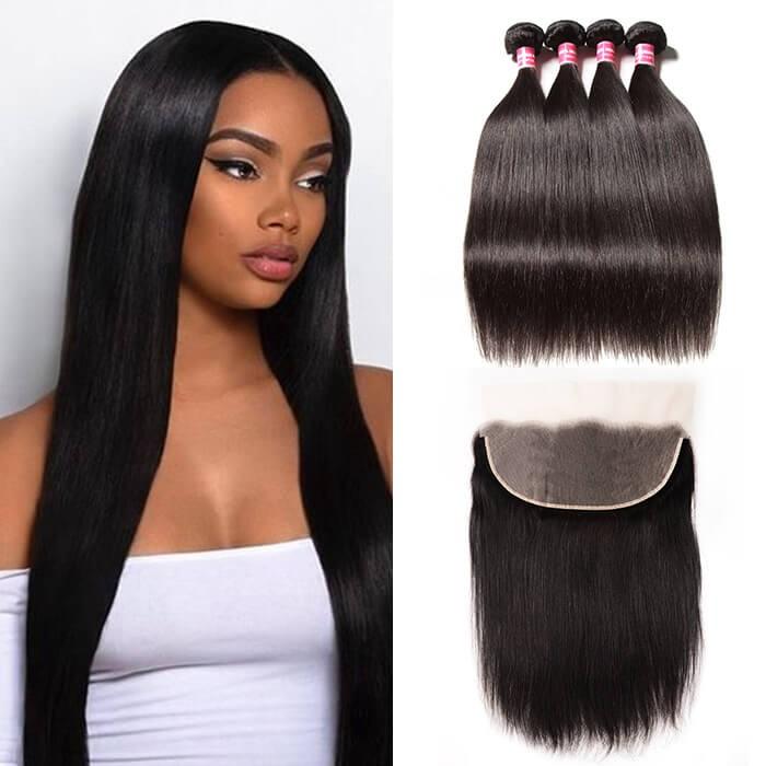 Kriyya Best 13x6 Brazilian Lace Frontal Closure With 4 Bundles Deals Straight Hair