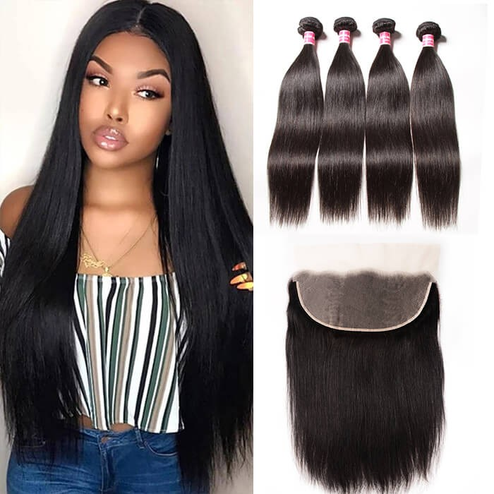Kriyya 13x6 Straight Lace Frontal With 4 Bundles Indian Remy Hair Weave