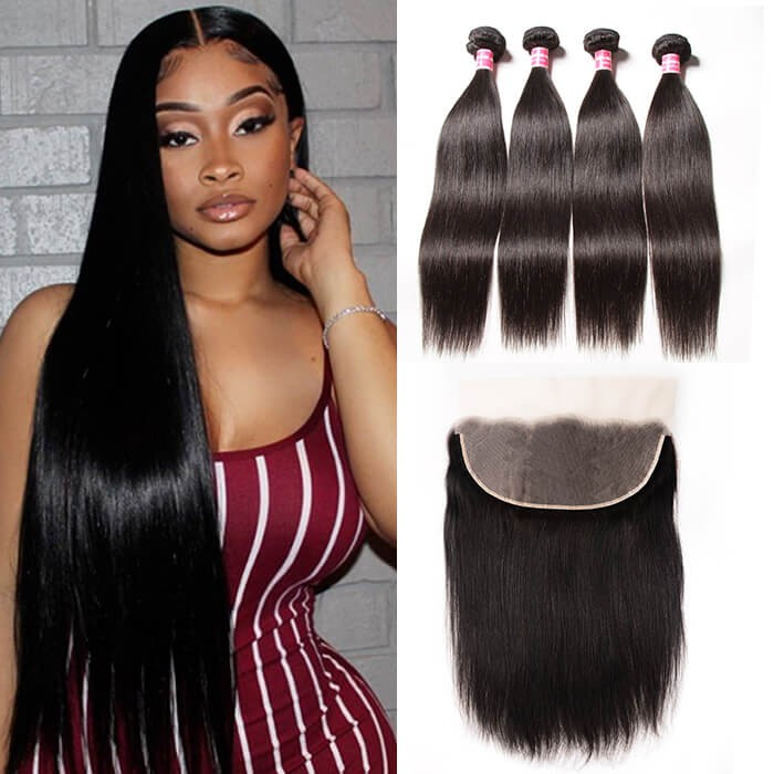 Kriyya Pre Plucked 13x6 Lace Frontal Closure With 4 Bundles Malaysian Straight Hair Weave