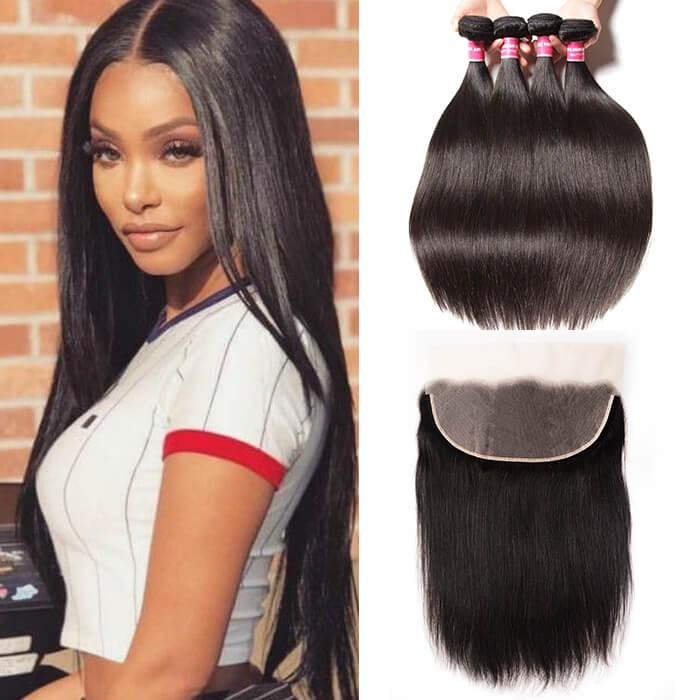 Kriyya Pre Plucked 13x6 Lace Frontal With 4 Bundles Peruvian Straight Human Hair