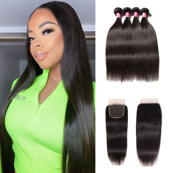 Kriyya 100 Human Hair Brazilian Straight 4 Bundles With 4X4 Closure