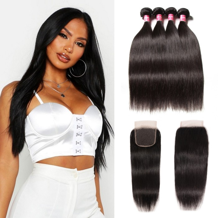 Kriyya Maylaysian Straight 100% Human Hair 4 Bundles With 4X4 Closure