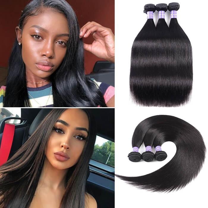 Kriyya Straight 100 Human Hair Weave 3 Pcs Peruvian 100% 7A Human Hair