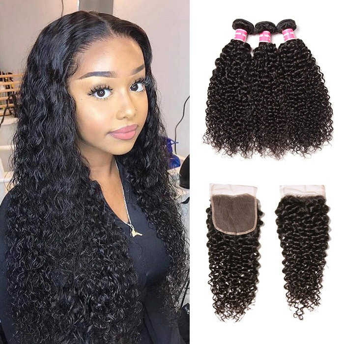 Kriyya 3 Bundles Malaysian Curly Hair Weave With Closure 4X4 Inch