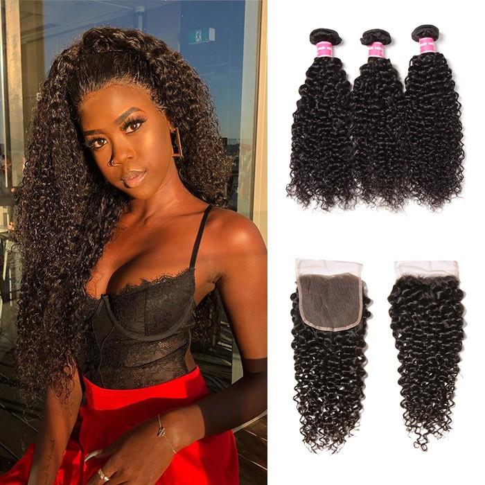Kriyya Peruvian Hair 3 Bundles Curly Hair With Pre Plucked 4X4 Closure