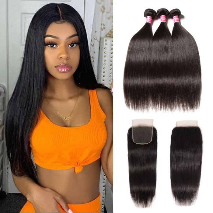 Kriyya Best Straight Malaysian Hair 3 Bundles And Free part Lace Closure 4X4 Inch