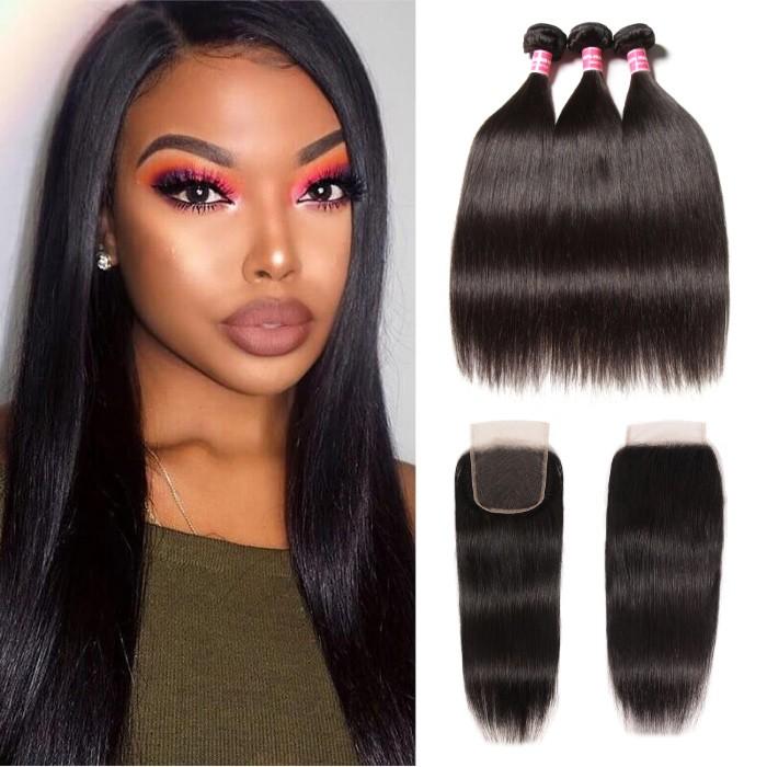 Kriyya High Quality Straight Indian 4X4 Lace Closure With 3 Bundles Virgin Hair