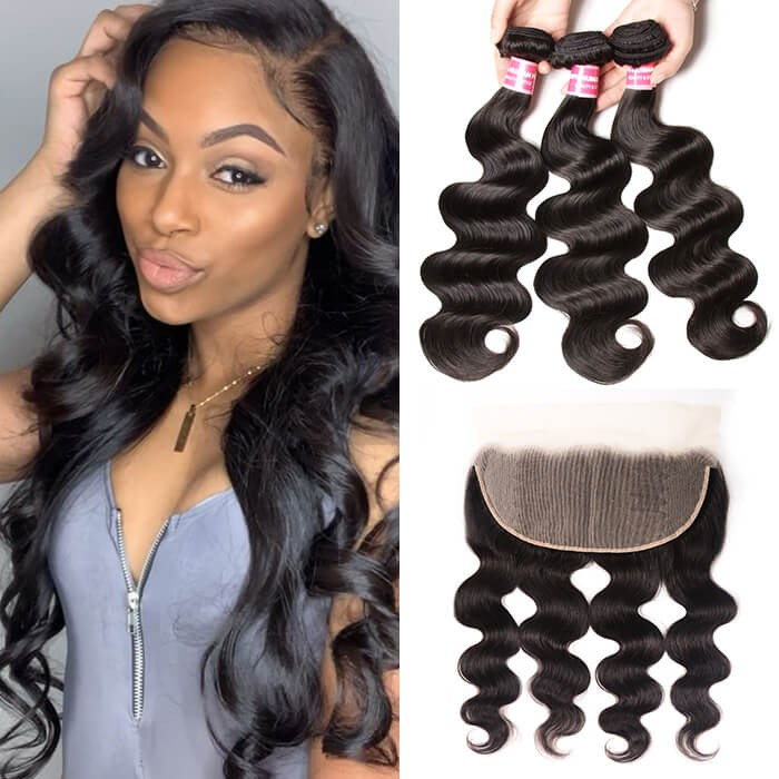 Kriyya Body Wave 100% Virgin Human Hair 3 Bundles With Lace Frontal 13*6 Inch