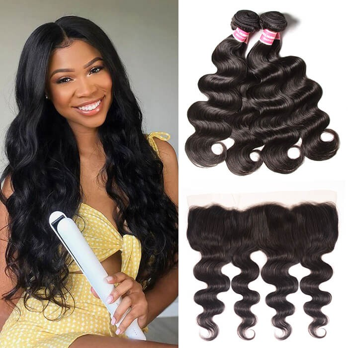 Kriyya 3 Pcs Brazilian Virgin Human Hair Body Wave With 13*4 Lace Frontal