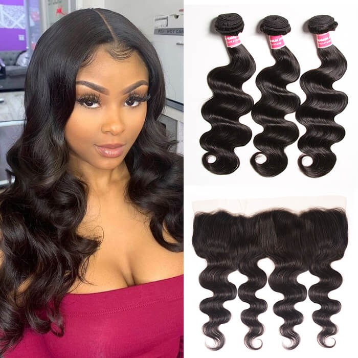 Kriyya Body Wave 3 Pcs Human Hair Bundles With 13*4 Lace Frontal Malaysian Hair