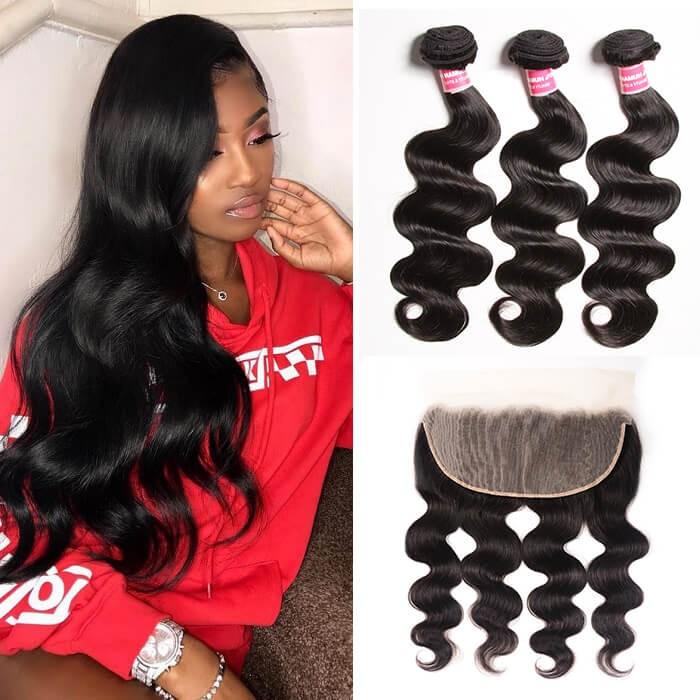 Kriyya 3 Pcs Body Wave With 13*6 Lace Frontal Malaysian 100 Human Hair
