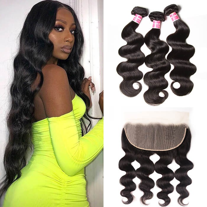Kriyya Peruvian Virgin Hair 3 Pcs Body Wave With 13*6 Lace Frontal