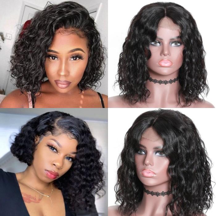 Kriyya Water Wave Human Hair Bob Wig Pre Plucked 13x4 Lace Front Wigs 150% Density Virgin Hair