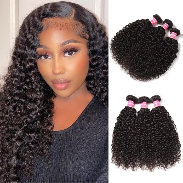 Kriyya Indian Curly Hair 3 Bundles Human Hair Weave 9A Virgin Hair