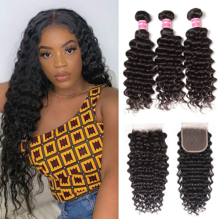 Kriyya Indian Human Hair 4X4 Closure With 3 Bundles Deep Wave Sew In Weaving
