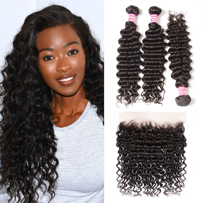 Kriyya Indian Hair 3 Bundles Deep Wave 100 Human Hair Weave With 13*4 Lace Frontal