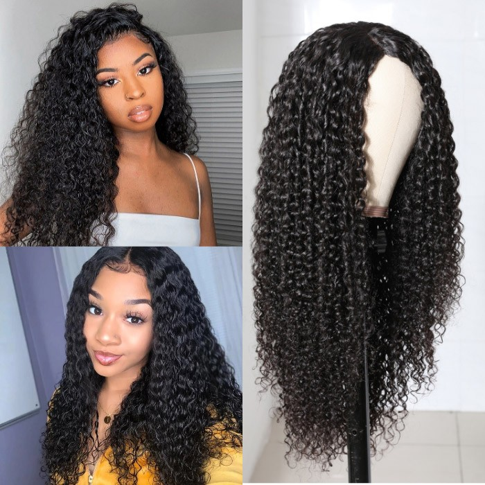 Kriyya 4.5*1.5 Right Part PU Skin Base Wig Jerry Curly Fake Scalp Wigs Natural Color
