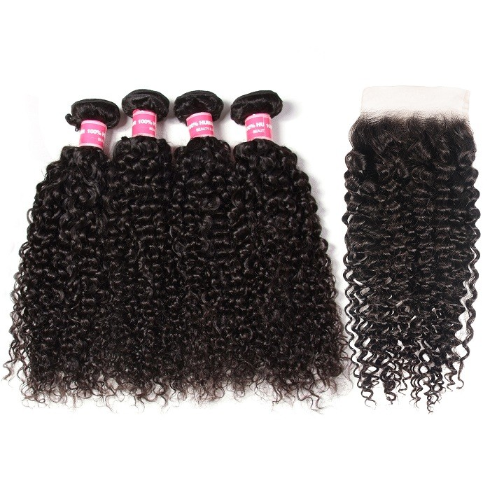 Kriyya Jerry Curly Hair 4 Bundles Sew In With 5x5 Closure Malaysian Human Hair