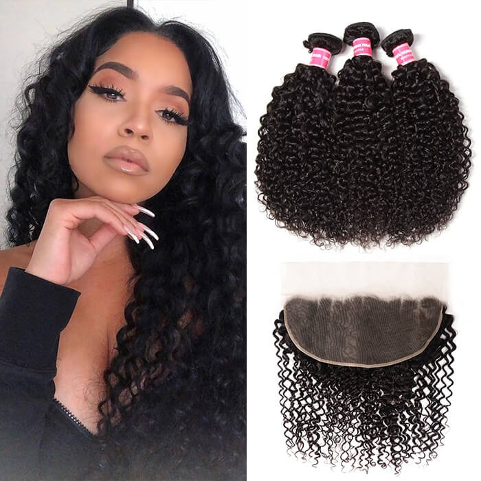 Kriyya 3 Bundles Jerry Curly Virgin Hair With 13*6 Lace Frontal Peruvian Human Hair