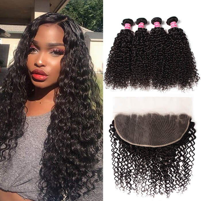 Kriyya Brazilian 4 Bundles Curly Hair With 13x6 Full Lace Front