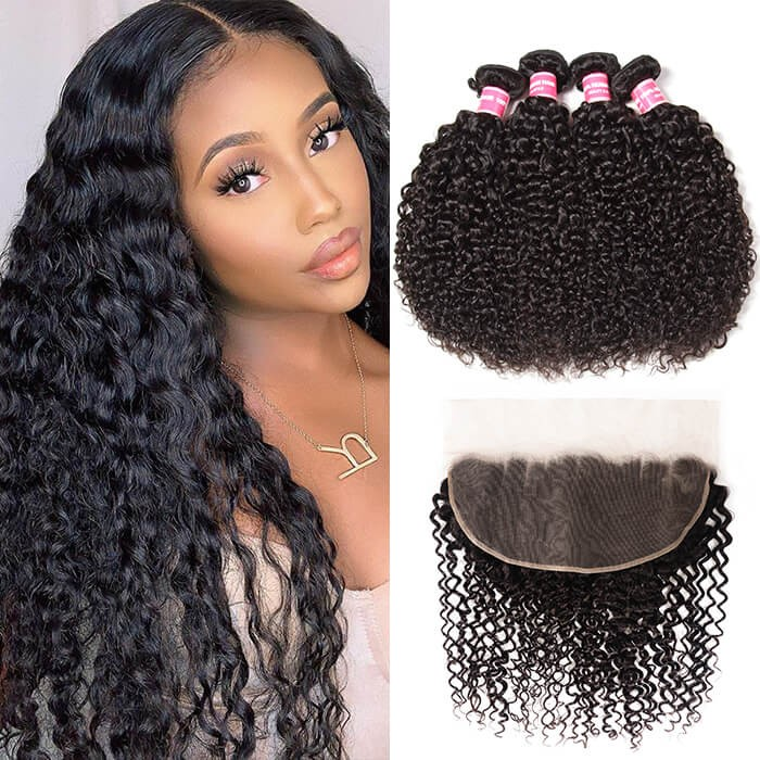 Kriyya Indian Jerry Curly Human Hair 13x6 Lace Frontal With 4 Bundles Deals
