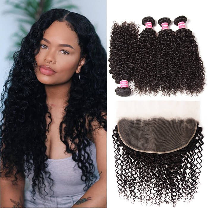 Kriyya 13x6 Lace Frontal And 4 Bundles Deals Malaysian Jerry Curly Hair
