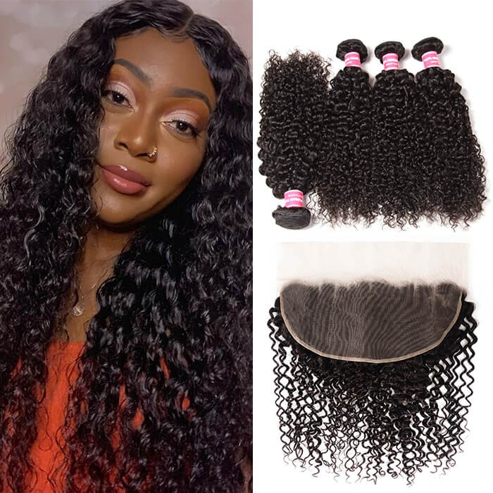 Kriyya Pre Plucked peruvian Curly 13x6 Lace Frontal With 4 Bundles Deals