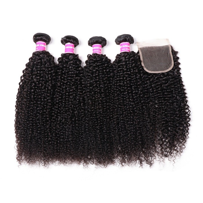 Kriyya Indian Kinky Curly 4 Bundles With 4x4 Lace Closure Sew In