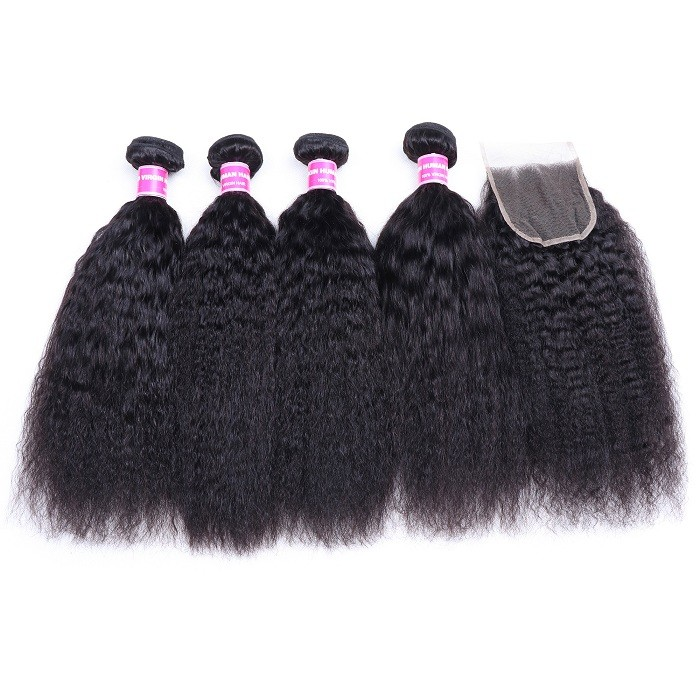 Kriyya Malaysian Kinky Straight  Hair 4 Bundles With Closure Free Part Lace Closure