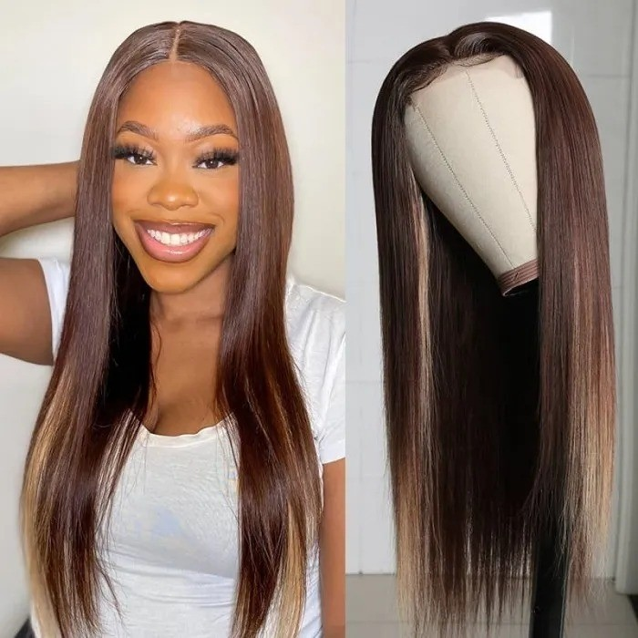 Kriyya Straight Virgin Hair 13x4 Lace Front Wigs Chocolate Brown Highlight Wigs 4/27 150% Density