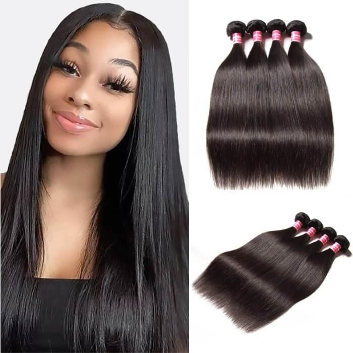 Kriyya Malaysian Best Straight Human Hair Weave 4 Bundles 9A Virgin Hair