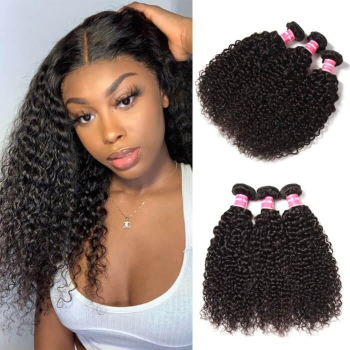 Kriyya Malaysian Virgin Hair Curly Human Hair 3 Bundles 9A Virgin Hair