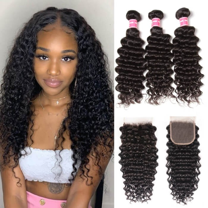 Kriyya Malaysian Weave Deep Wave Hair 3 Bundles With 4X4 Closure