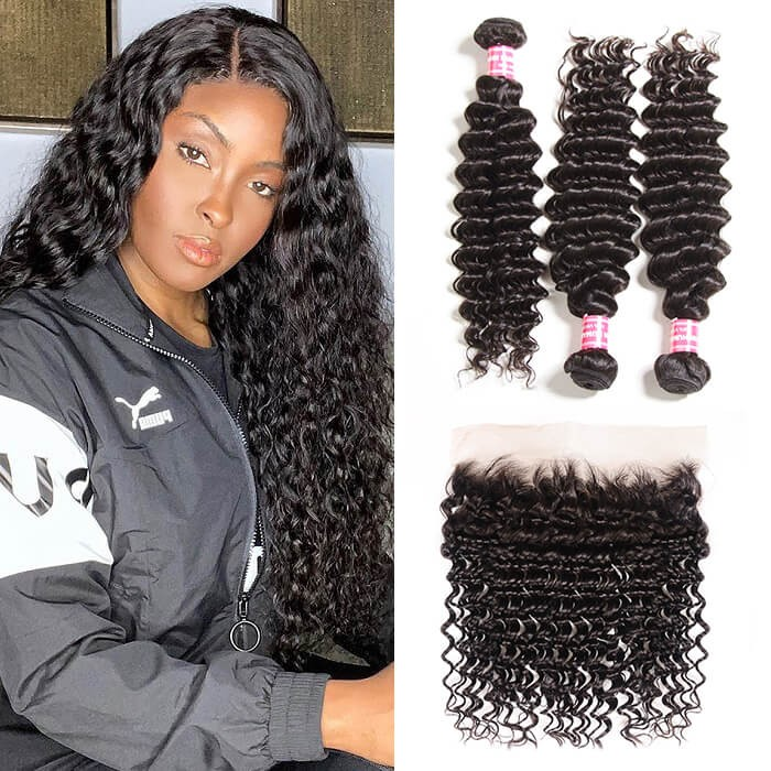 Kriyya 3 Pcs Deep Wave Virgin Hair Bundles With 13*4 Lace Frontal Malaysian Human Hair