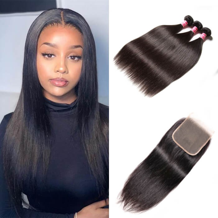 Kriyya Brazilian Virgin Human Hair 3 Pcs Straight With 5*5 Lace Closure